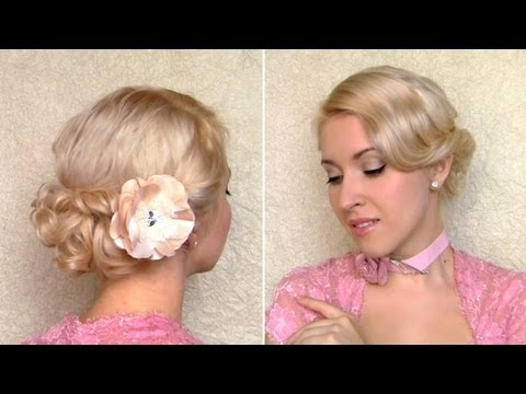 Easy curly updo for short hair tutorial Romantic wedding hairstyle for medium long hair top knot