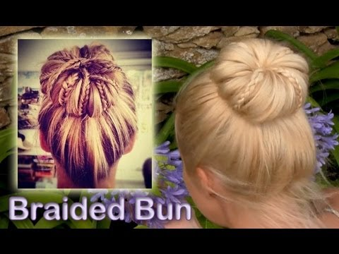 Elegant braided updo hairstyle for everyday Rolled bun for medium and long hair tutorial повседневные прически своими руками